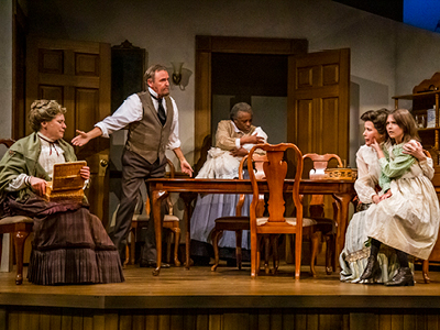 Gabrielle Jones, Rob McClure, Marcia Johnson, Jackie Mustakas and Clara Kushnir in The Miracle Worker, 2019 Season, Drayton Entertainment. Director Marti Maraden, Set Designer Allan Wilbee, Costume Designer Jenine Kroeplin, Lighting Designer Kevin Fraser, Fight Director Joe Bostick. Photographer: Liisa Steinwedel.