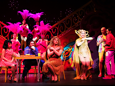 2)	Company in Priscilla, Queen of the Desert, Drayton Entertainment, 2019 Season. Director & Choreographer David Connolly, Music Director Jeannie Wyse, Set Designer Stanley A. Meyer Design L.L.C., Costume Designer Dariusz Korbiel, Lighting Designer Kevin Fraser. Photographer: Hilary Gauld Camilleri.