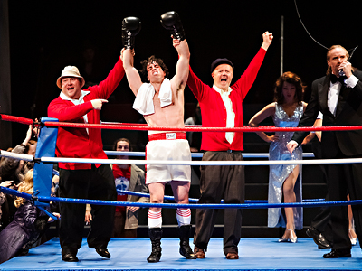 Aaron Walpole, Alex Kelly, Lee MacDougall and company in Rocky: The Musical