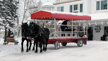 Horse and carriage at Fern Resort in winter