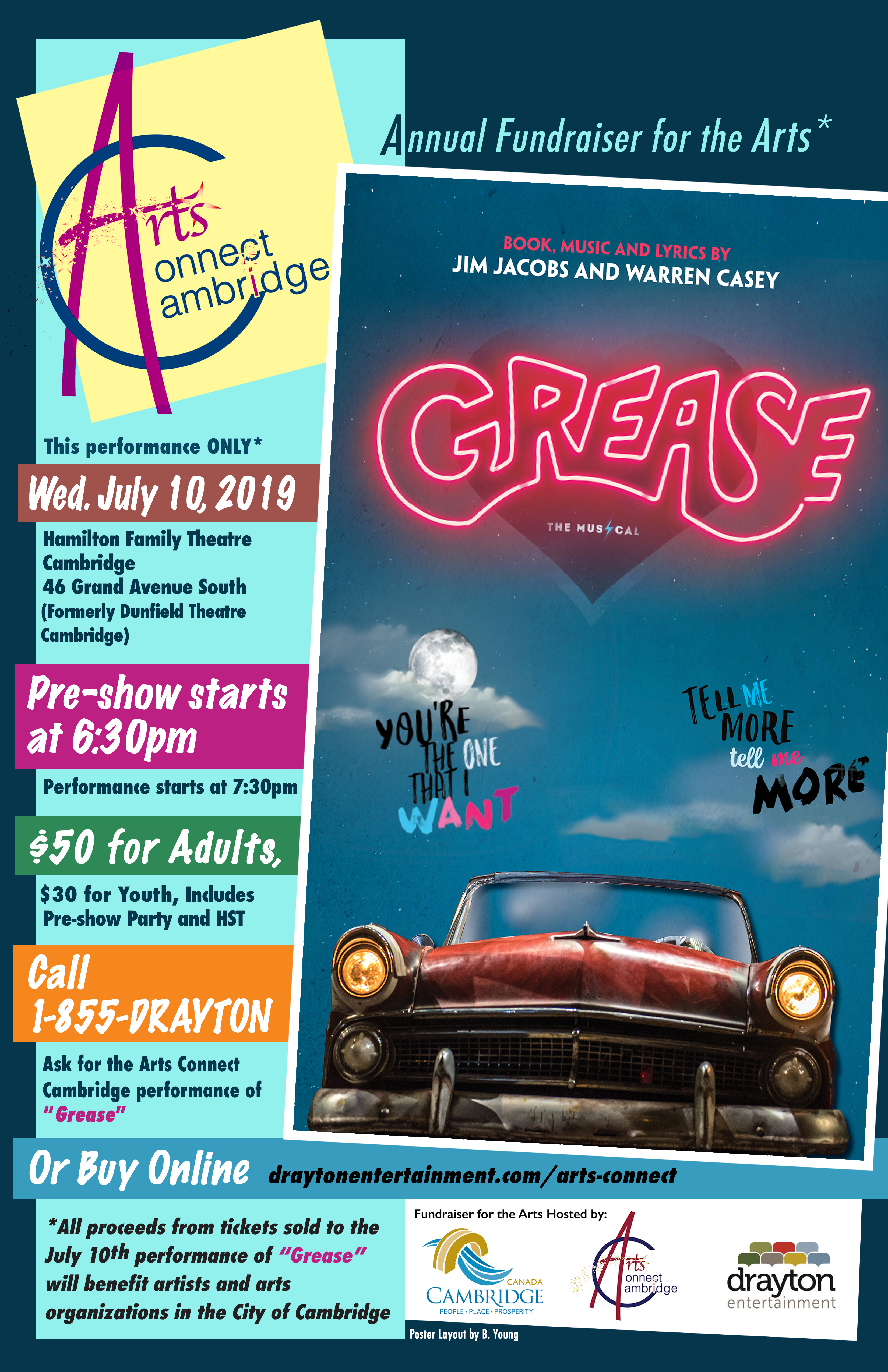 Arts Connect Cambridge Grease Poster