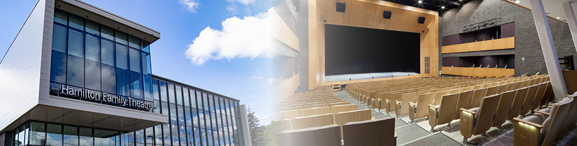 Interior and exterior image of Hamilton Family Theatre Cambridge