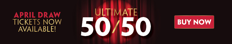 "red curtain with spotlight and text ""Ultimate 50 50 Play to Win Buy Now April draw tickets available now"""